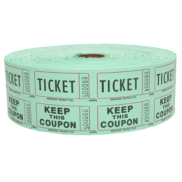 Raffle Tickets - Double Roll Green - 50/50 Drawings - Jackpot Bingo Supplies
