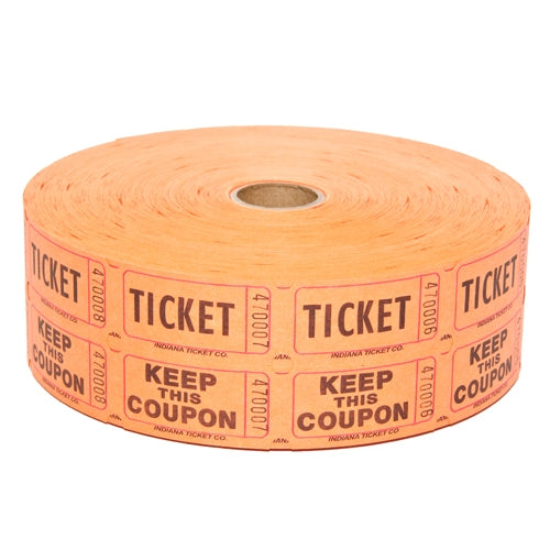 Raffle Tickets - Double Roll Orange - 50/50 Drawings - Jackpot Bingo Supplies