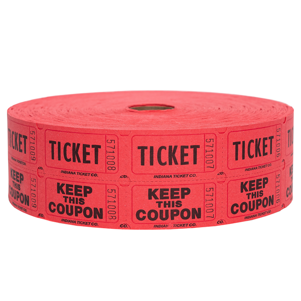 Raffle Tickets - Double Roll Red - 50/50 Drawings - Jackpot Bingo Supplies