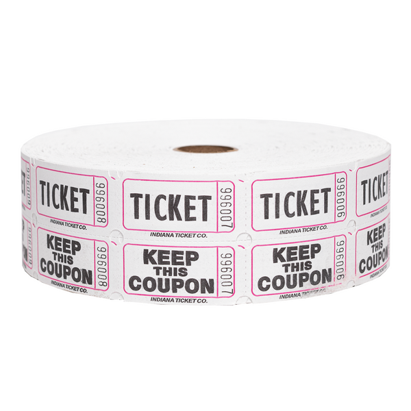 Raffle Tickets - Double Roll White - 50/50 Drawings - Jackpot Bingo Supplies