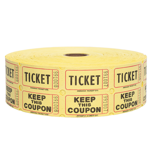 Raffle Tickets - Double Roll Yellow - 50/50 Drawings - Jackpot Bingo Supplies