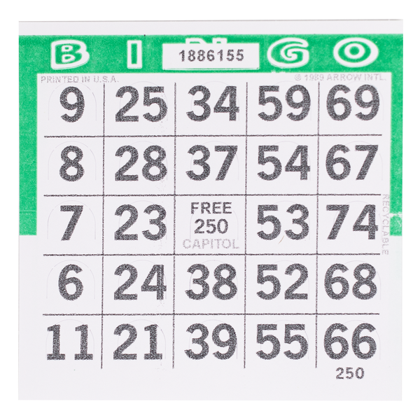 1 on Pushout Bingo Paper Cards - Green - 250 cards - Jackpot Bingo Supplies