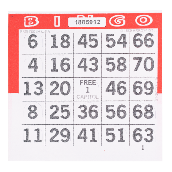 1 on Pushout Bingo Paper Cards - Red - 250 cards - Jackpot Bingo Supplies
