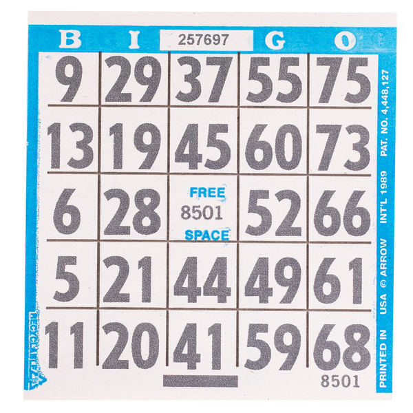 1 on Large Print Easy Read Bingo Paper Cards - Blue - 500 cards - Jackpot Bingo Supplies