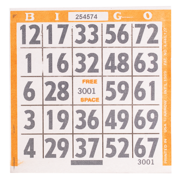 1 on Large Print Easy Read Bingo Paper Cards - Orange - 500 cards - Jackpot Bingo Supplies