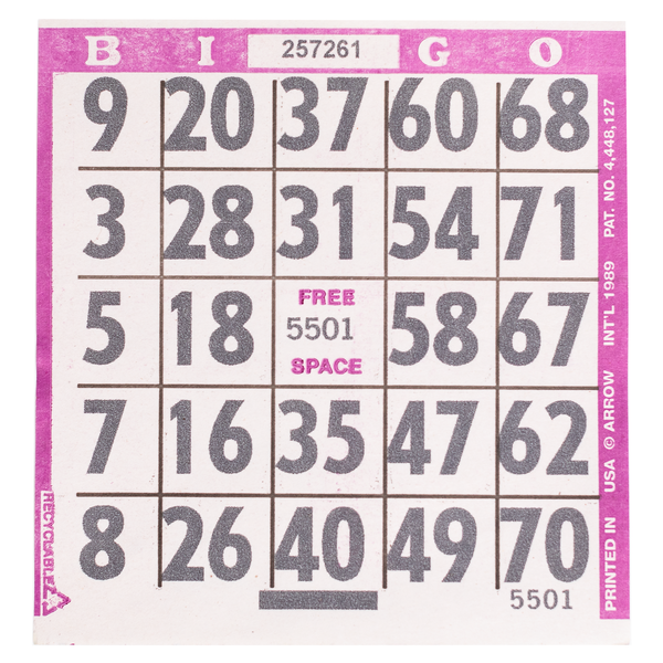 1 on Large Print Easy Read Bingo Paper Cards - Purple - 500 cards - Jackpot Bingo Supplies