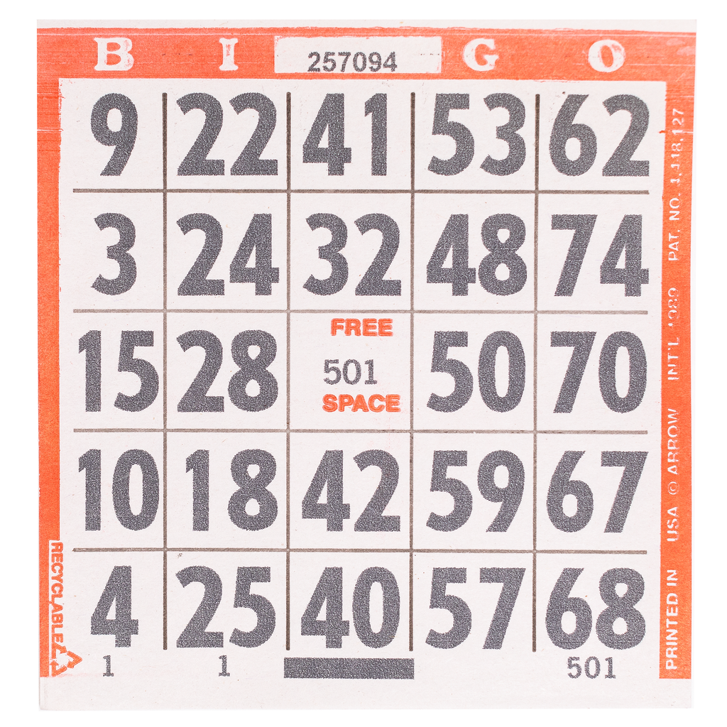 1 on Large Print Easy Read Bingo Paper Cards - Red - 500 cards - Jackpot Bingo Supplies