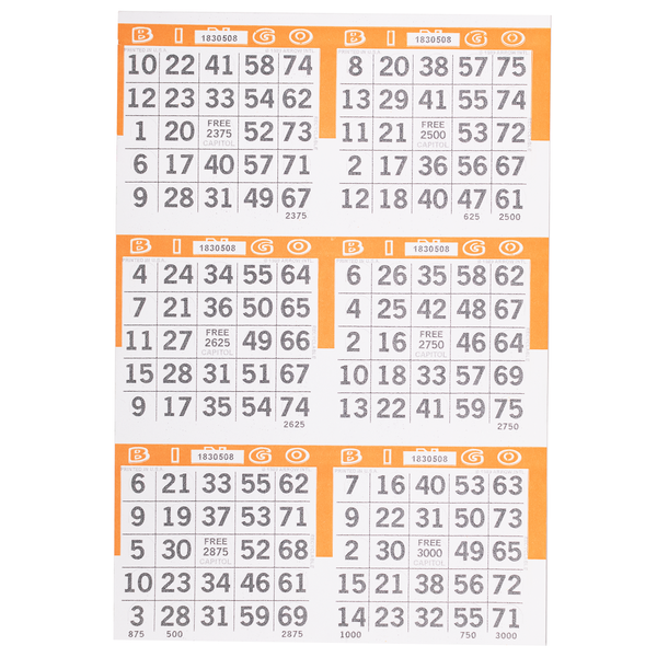 6 on Pushout Bingo Paper Cards - Orange - 250 sheets - Jackpot Bingo Supplies