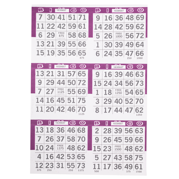 6 on Pushout Bingo Paper Cards - Purple - 250 sheets - Jackpot Bingo Supplies