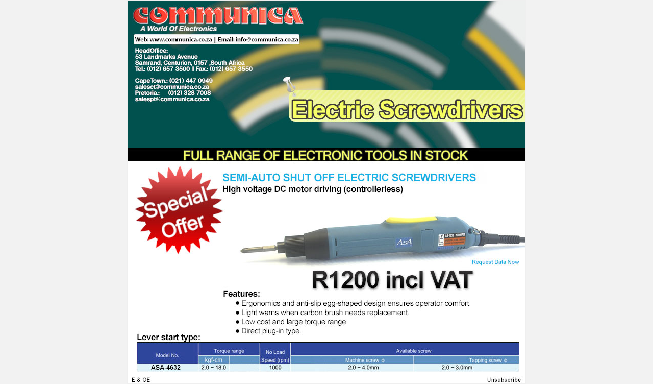 Electric Screwdrivers - On Promotion