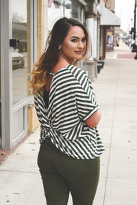 Lyz  is window shopping in our striped v neck comfy and still trendy