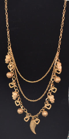 Hearts n Spheres Gold Necklace