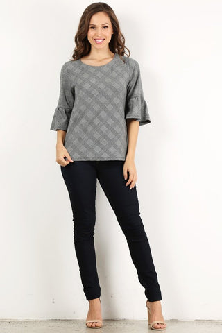 Gray Plaid Georgette Top