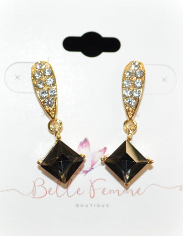 Crystal w Black Star Earrings