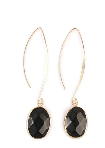 BLACK NATURAL STONE DROP EARRINGS