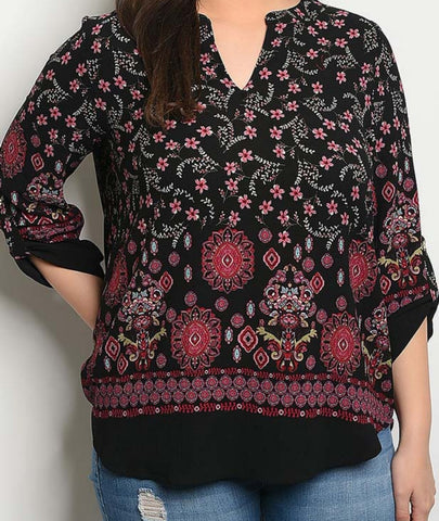 Black w Purple Floral Print Blouse