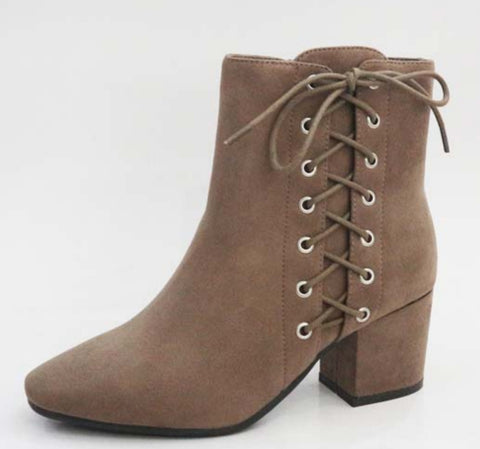 Bamboo Taupe Lace up Bootie