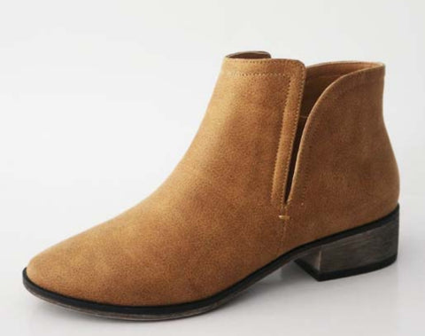 Tan Zippered Bootie