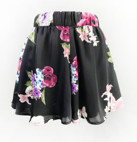 Black Floral High Rise Flare Shorts