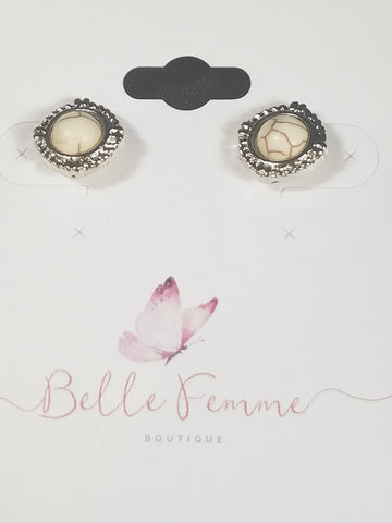 Vintage White Stone Earrings