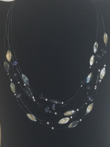 Crystal and Seashell Bead fashion Necklace