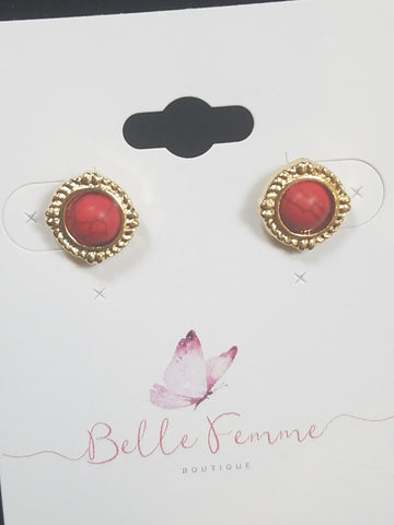 Vintage Red Gem Earrings