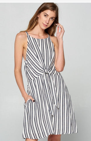 Stripe Faux Wrap Sun Dress