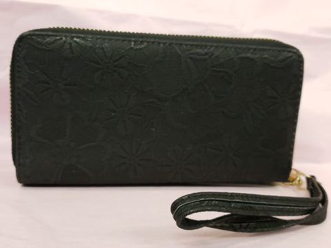 Floral Imprint Wallet - Black