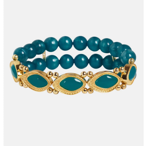 TEAL AND GOLD STRETCH BRACELET