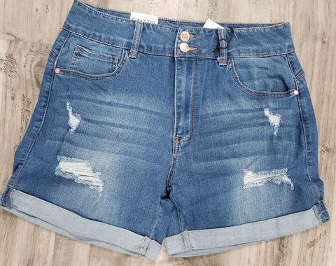 Mid-Rise Push Up Distressed Shorts