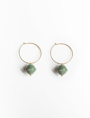 31 Bits - Single Bead Earrings/Sage