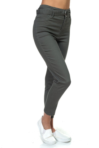 Olive High Waist Belted Twill Pants