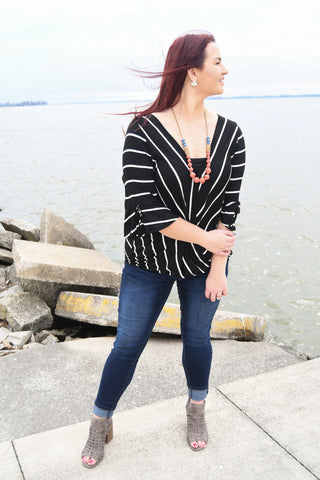 Striped Jersey Casual Top