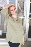 Olive Jersey Knit Tunic Top