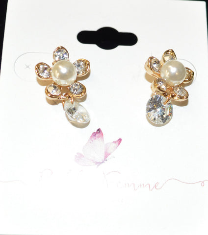 Gold Crystal Flower Earrings