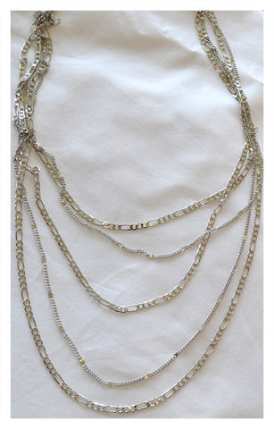 Tri-layered silver necklace