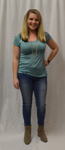 Teal Scoop Neck Pocket Top