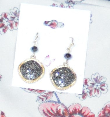 Black Drop Stone Earrings