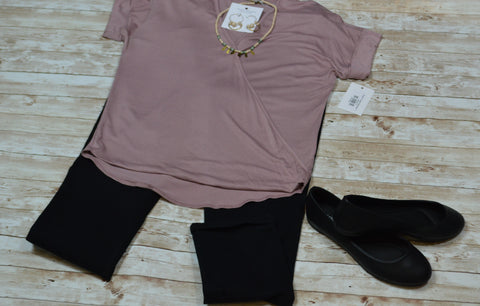 Rose V-neck Mockwrap Top