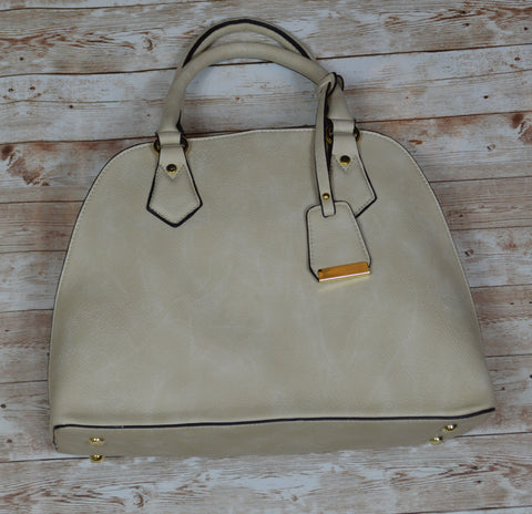 Beige Satchel Purse
