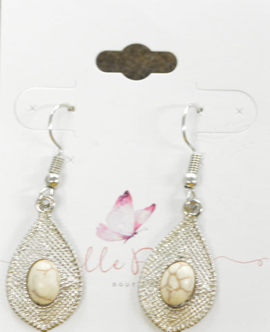 White Stone on Silver / Dangle