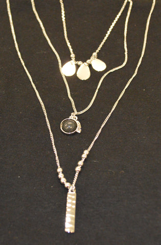 Silver Layered with Black Pendant Necklace