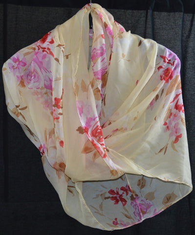 Cream and Pink Floral Scarf
