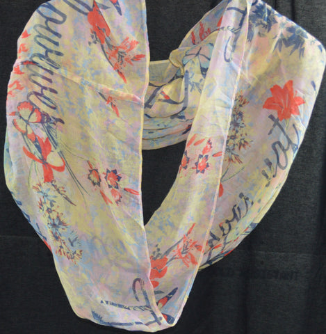 Coral Floral Scarf