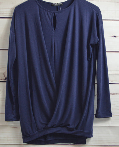 Navy Cross Front Sweater
