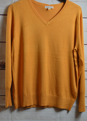 Mustard Button Cuff Sweater