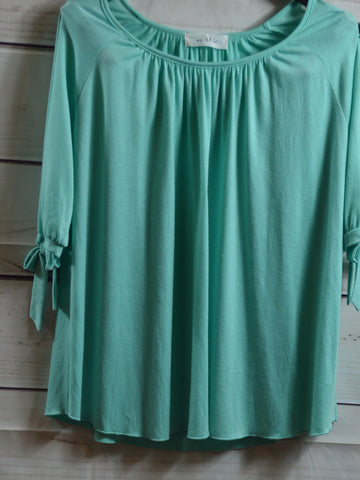 Mint Open Shoulder Top