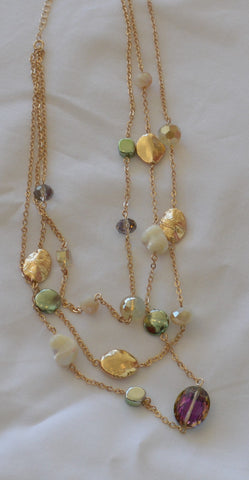 Ivory and Emerald Stone 3-Layered Necklace