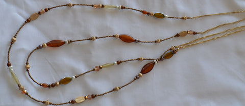 Brown and Gold Bead Necklace