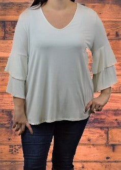 Ivory Layered Bell Sleeve Top